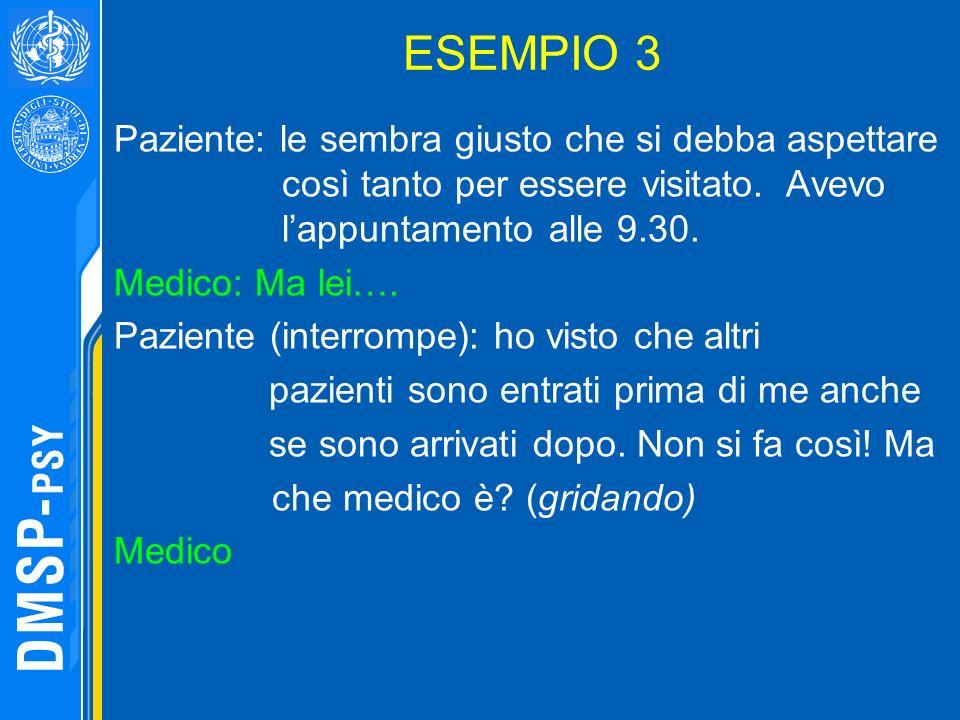 ESEMPIO 3 Paziente: le sembra giusto che si debba aspettare così tanto per essere visitato. Avevo lappuntamento alle 9.30. Medico: Ma lei…. Paziente (