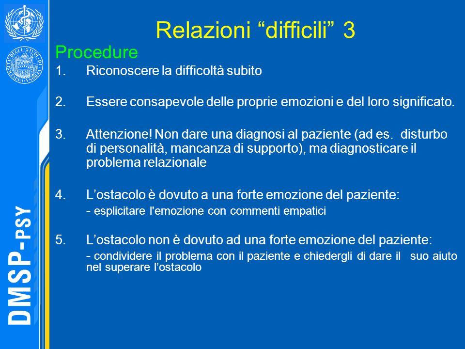 Relazioni difficili 3 Procedure 1.Riconoscere la difficoltà subito 2.Essere consapevole delle proprie emozioni e del loro significato. 3.Attenzione! N