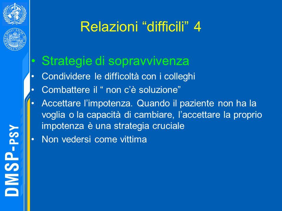 Relazioni difficili 4 Strategie di sopravvivenza Condividere le difficoltà con i colleghi Combattere il non cè soluzione Accettare limpotenza. Quando