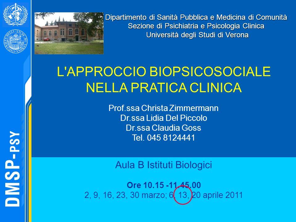 Dipartimento di Sanità Pubblica e Medicina di Comunità Sezione di Psichiatria e Psicologia Clinica Università degli Studi di Verona Università degli S
