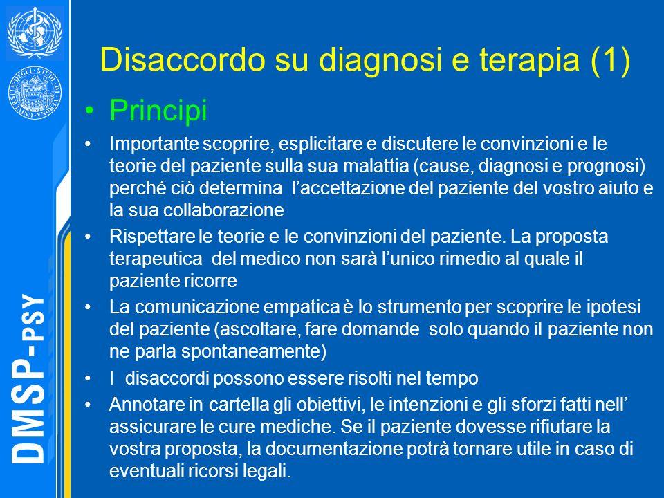 Disaccordo su diagnosi e terapia (1) Principi Importante scoprire, esplicitare e discutere le convinzioni e le teorie del paziente sulla sua malattia