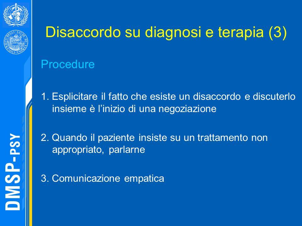 Disaccordo su diagnosi e terapia (3) Procedure 1. Esplicitare il fatto che esiste un disaccordo e discuterlo insieme è linizio di una negoziazione 2.