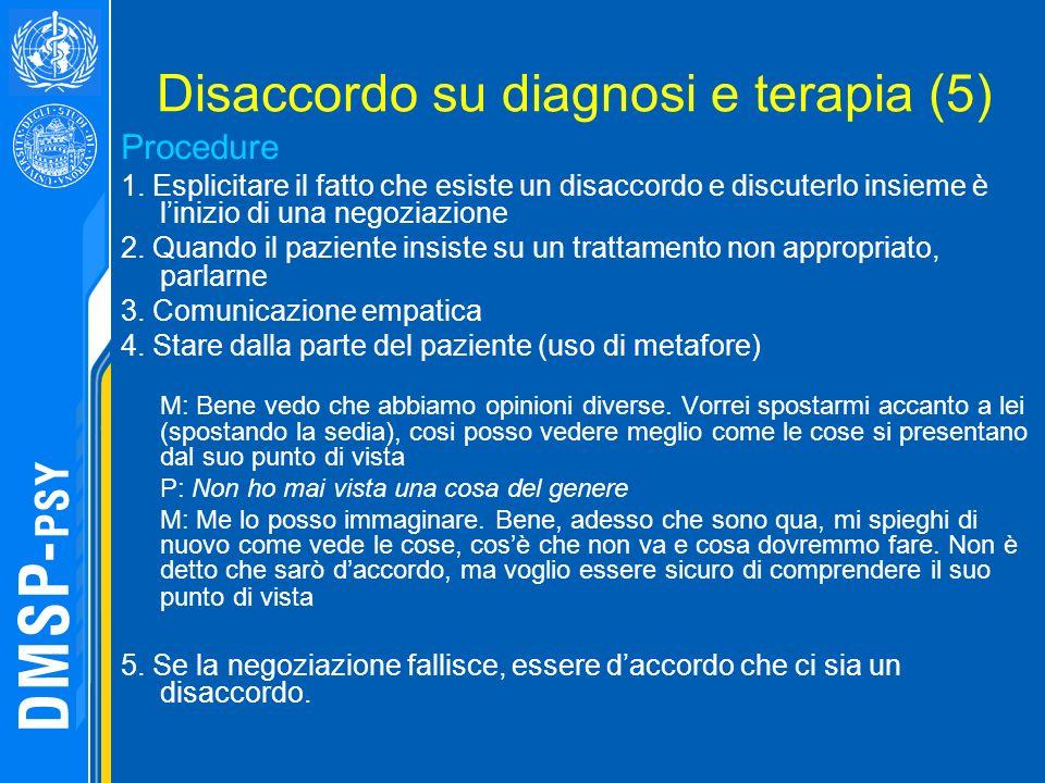 Disaccordo su diagnosi e terapia (5) Procedure 1. Esplicitare il fatto che esiste un disaccordo e discuterlo insieme è linizio di una negoziazione 2.