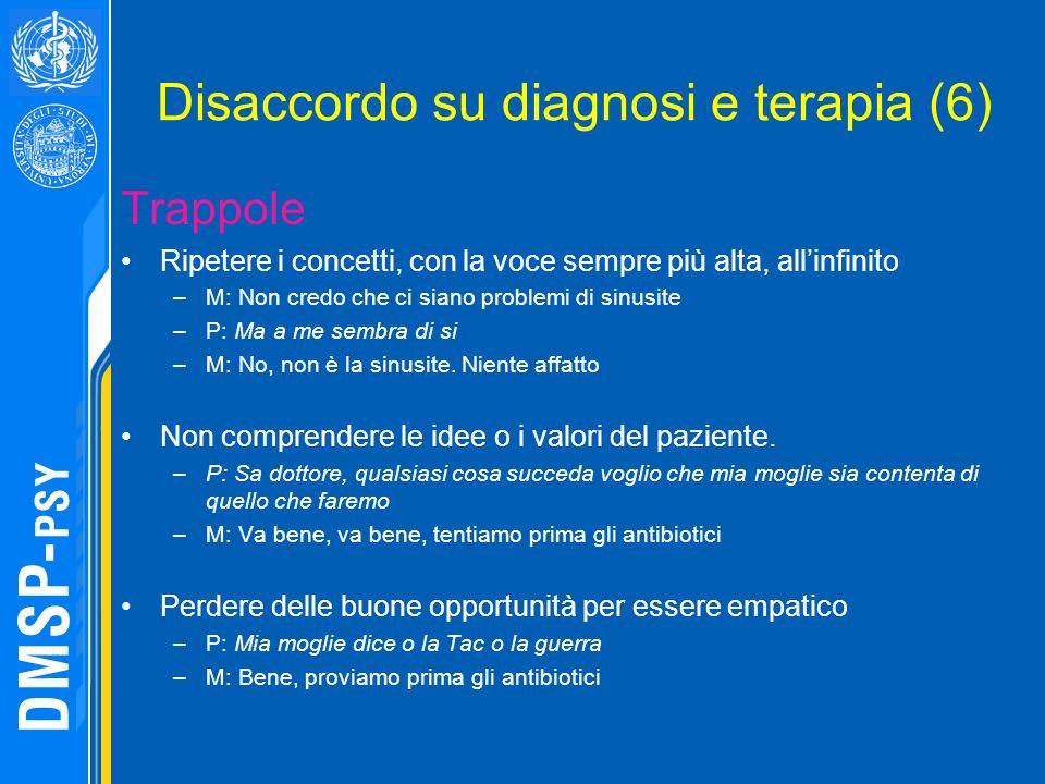 Disaccordo su diagnosi e terapia (6) Trappole Ripetere i concetti, con la voce sempre più alta, allinfinito –M: Non credo che ci siano problemi di sin