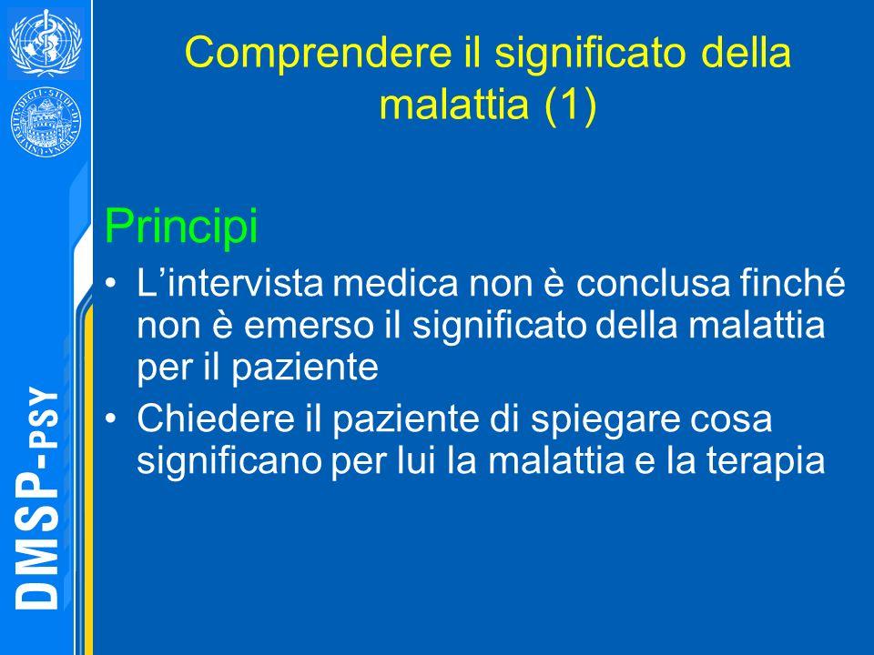 Comprendere il significato della malattia (1) Principi Lintervista medica non è conclusa finché non è emerso il significato della malattia per il pazi