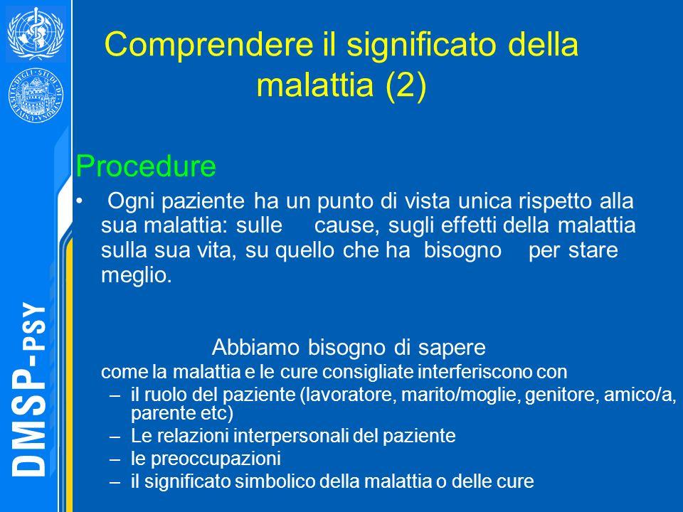 Comprendere il significato della malattia (2) Procedure Ogni paziente ha un punto di vista unica rispetto alla sua malattia: sulle cause, sugli effett