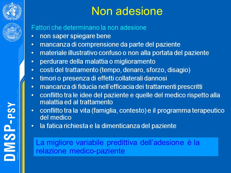 Non adesione Fattori che determinano la non adesione non saper spiegare bene mancanza di comprensione da parte del paziente materiale illustrativo con
