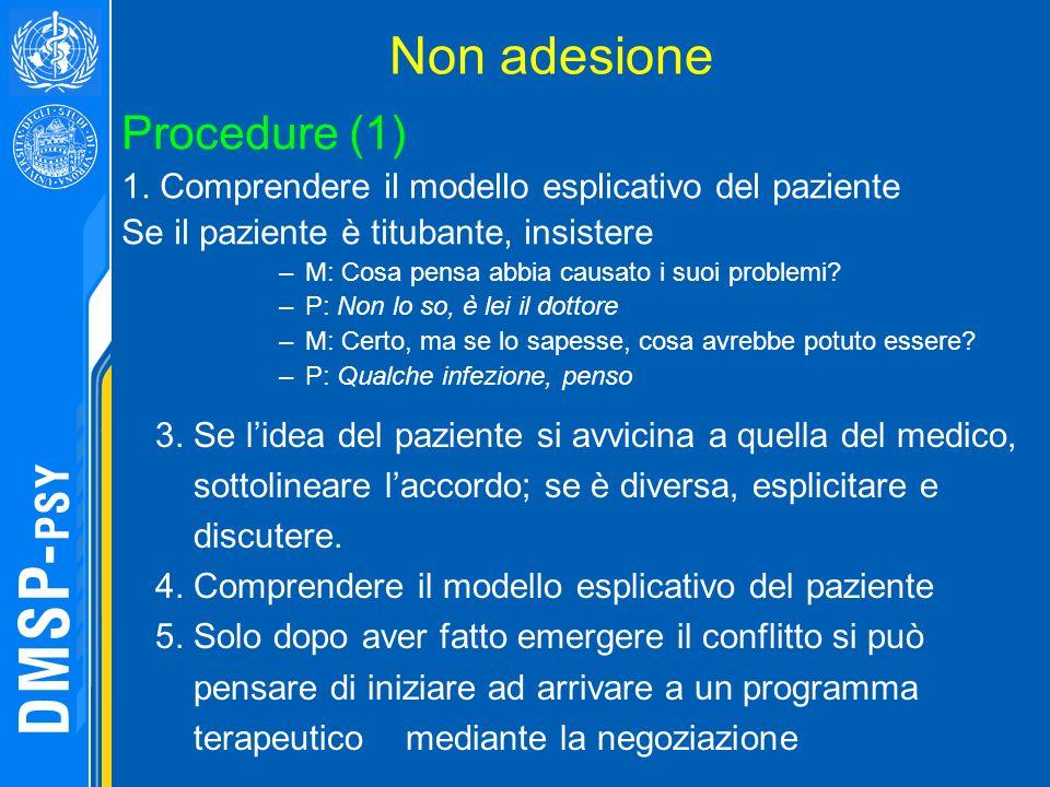 Non adesione Procedure (1) 1. Comprendere il modello esplicativo del paziente Se il paziente è titubante, insistere –M: Cosa pensa abbia causato i suo