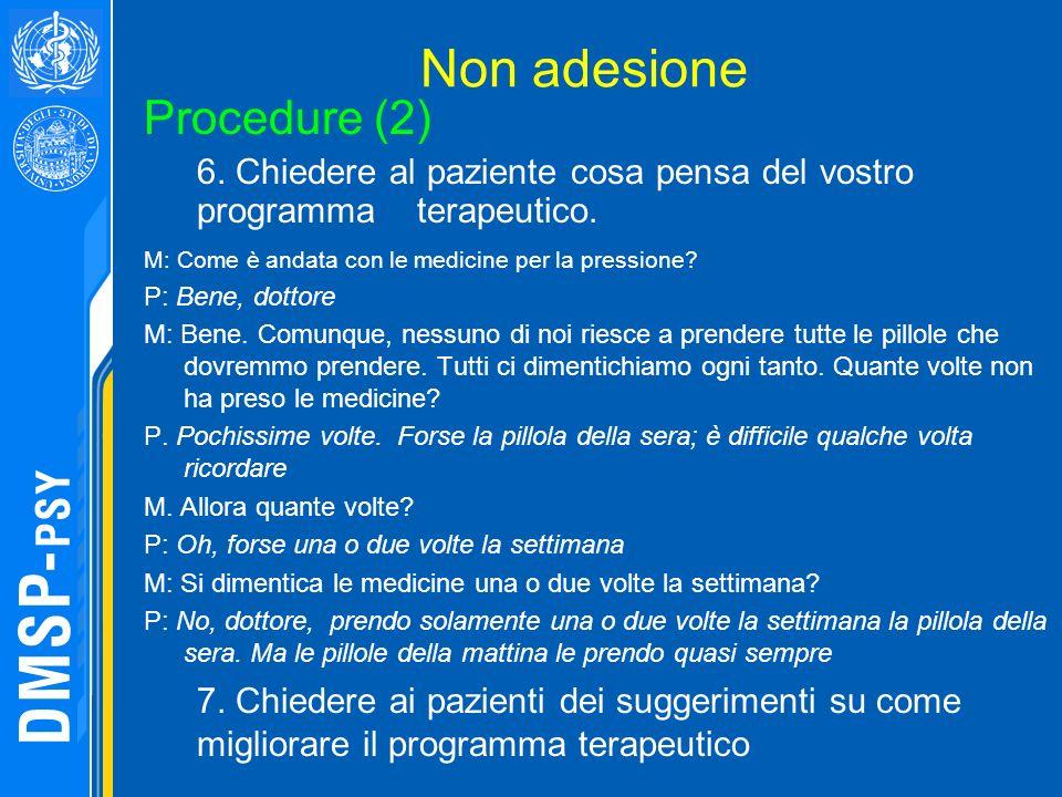 Non adesione M: Come è andata con le medicine per la pressione? P: Bene, dottore M: Bene. Comunque, nessuno di noi riesce a prendere tutte le pillole