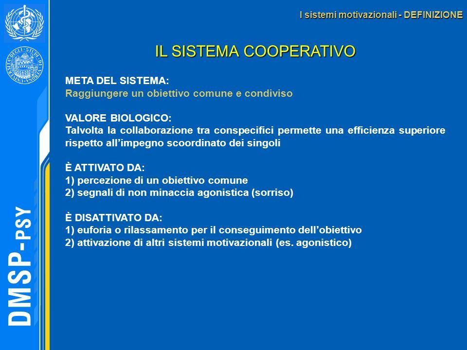 I sistemi motivazionali - DEFINIZIONE IL SISTEMA COOPERATIVO META DEL SISTEMA: Raggiungere un obiettivo comune e condiviso VALORE BIOLOGICO: Talvolta