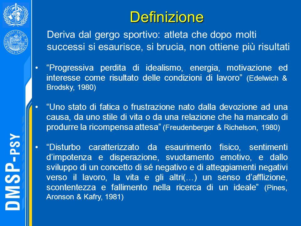 Definizione Definizione Progressiva perdita di idealismo, energia, motivazione ed interesse come risultato delle condizioni di lavoro (Edelwich & Brod