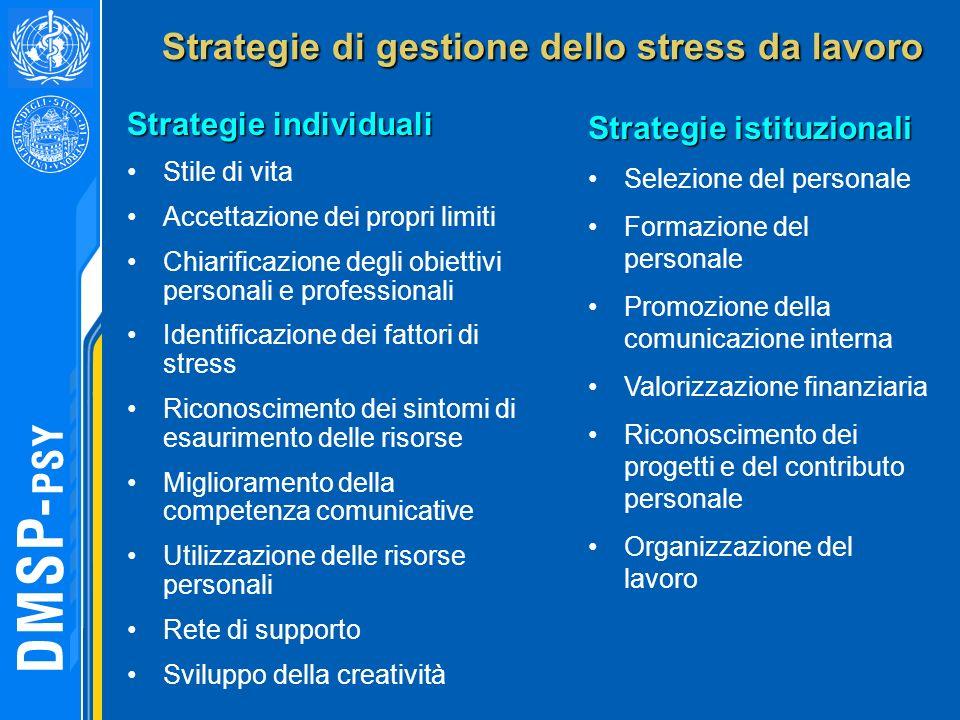 Strategie di gestione dello stress da lavoro Strategie di gestione dello stress da lavoro Strategie istituzionali Selezione del personale Formazione d