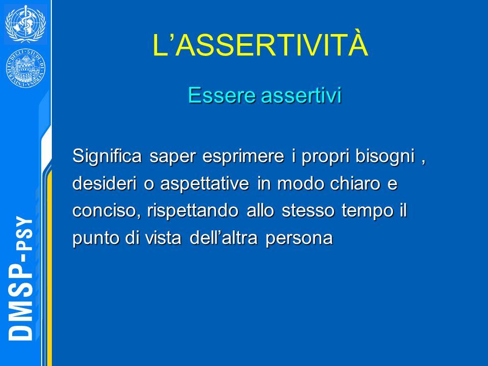 LASSERTIVITÀ Essere assertivi Significa saper esprimere i propri bisogni, desideri o aspettative in modo chiaro e conciso, rispettando allo stesso tem