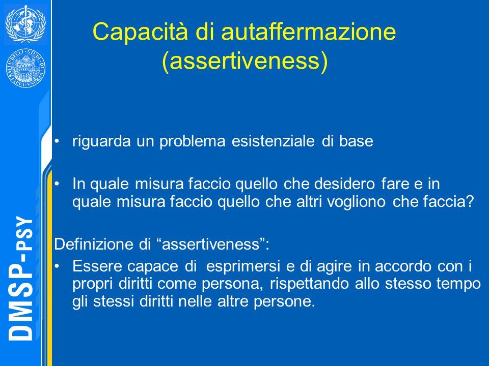 Capacità di autaffermazione (assertiveness) riguarda un problema esistenziale di base In quale misura faccio quello che desidero fare e in quale misur