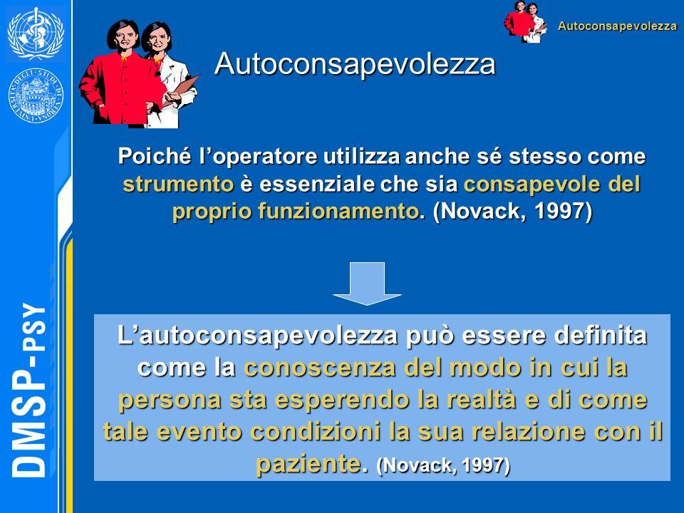 Autoconsapevolezza Poiché loperatore utilizza anche sé stesso come strumento è essenziale che sia consapevole del proprio funzionamento. (Novack, 1997