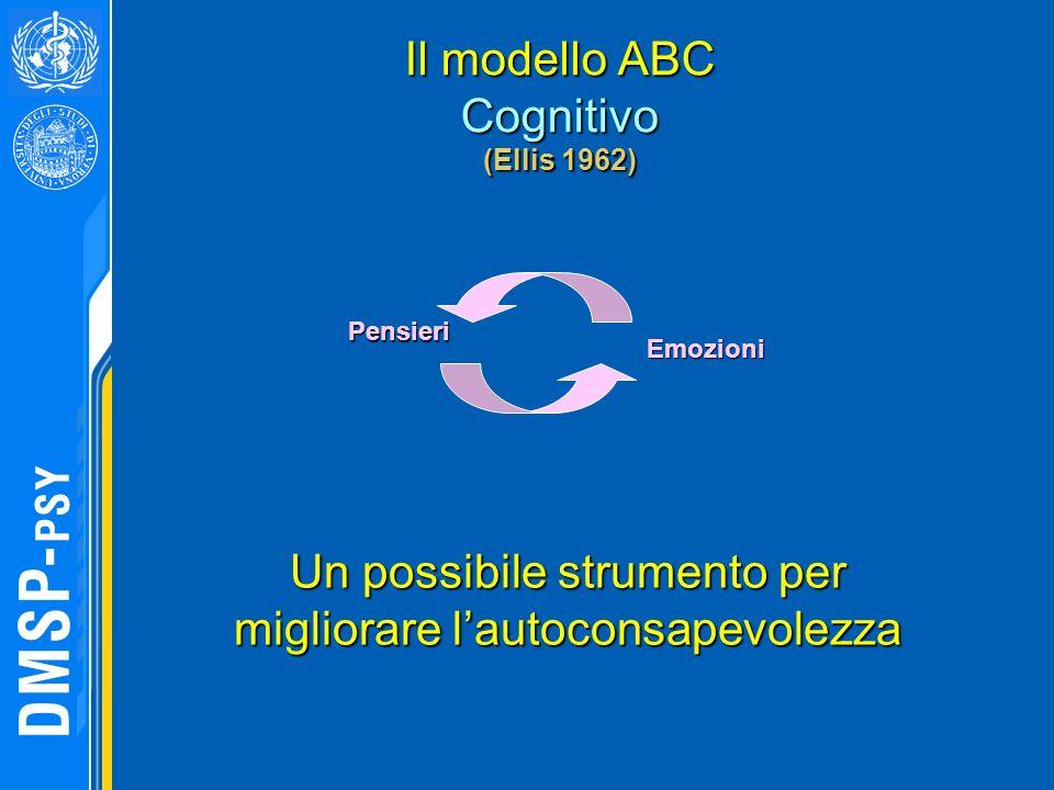 Il modello ABC Cognitivo (Ellis 1962) Pensieri Emozioni Un possibile strumento per migliorare lautoconsapevolezza