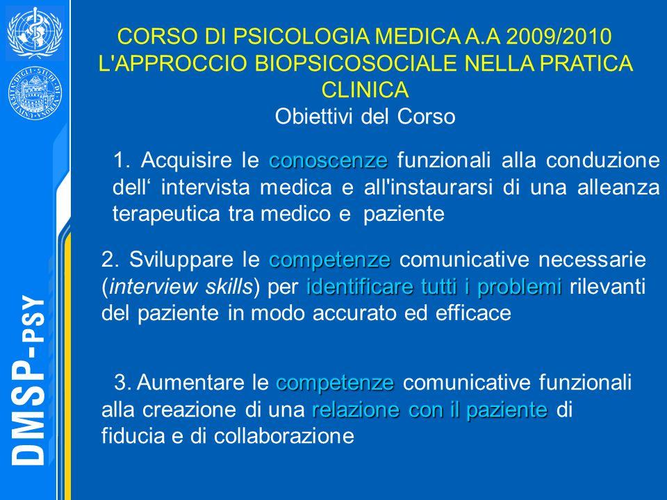 conoscenze 1. Acquisire le conoscenze funzionali alla conduzione dell intervista medica e all'instaurarsi di una alleanza terapeutica tra medico e paz