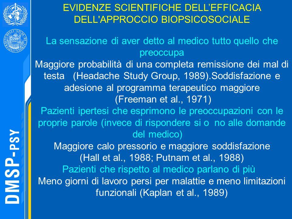 EVIDENZE SCIENTIFICHE DELLEFFICACIA DELL'APPROCCIO BIOPSICOSOCIALE La sensazione di aver detto al medico tutto quello che preoccupa Maggiore probabili