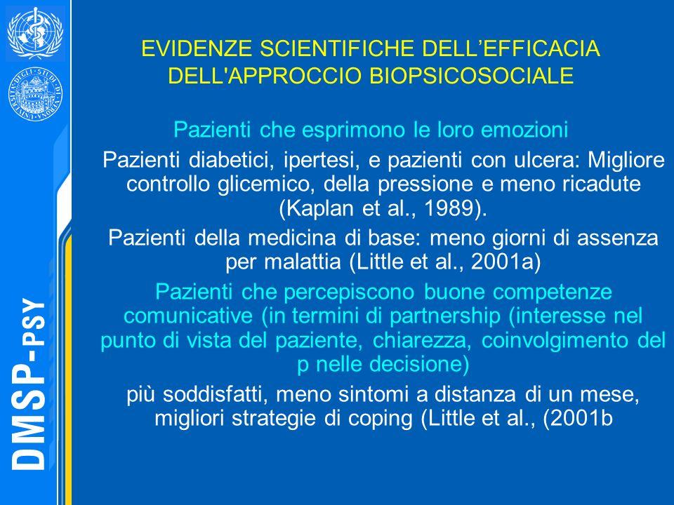 EVIDENZE SCIENTIFICHE DELLEFFICACIA DELL'APPROCCIO BIOPSICOSOCIALE Pazienti che esprimono le loro emozioni Pazienti diabetici, ipertesi, e pazienti co