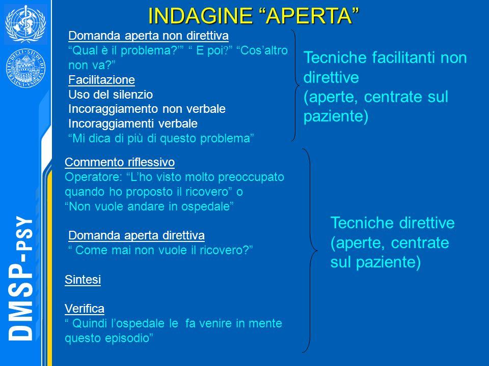 Tecniche facilitanti non direttive (aperte, centrate sul paziente) Tecniche direttive (aperte, centrate sul paziente) INDAGINE APERTA Commento rifless