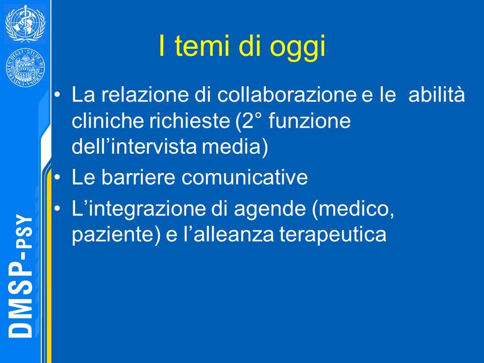I temi di oggi La relazione di collaborazione e le abilità cliniche richieste (2° funzione dellintervista media) Le barriere comunicative Lintegrazion
