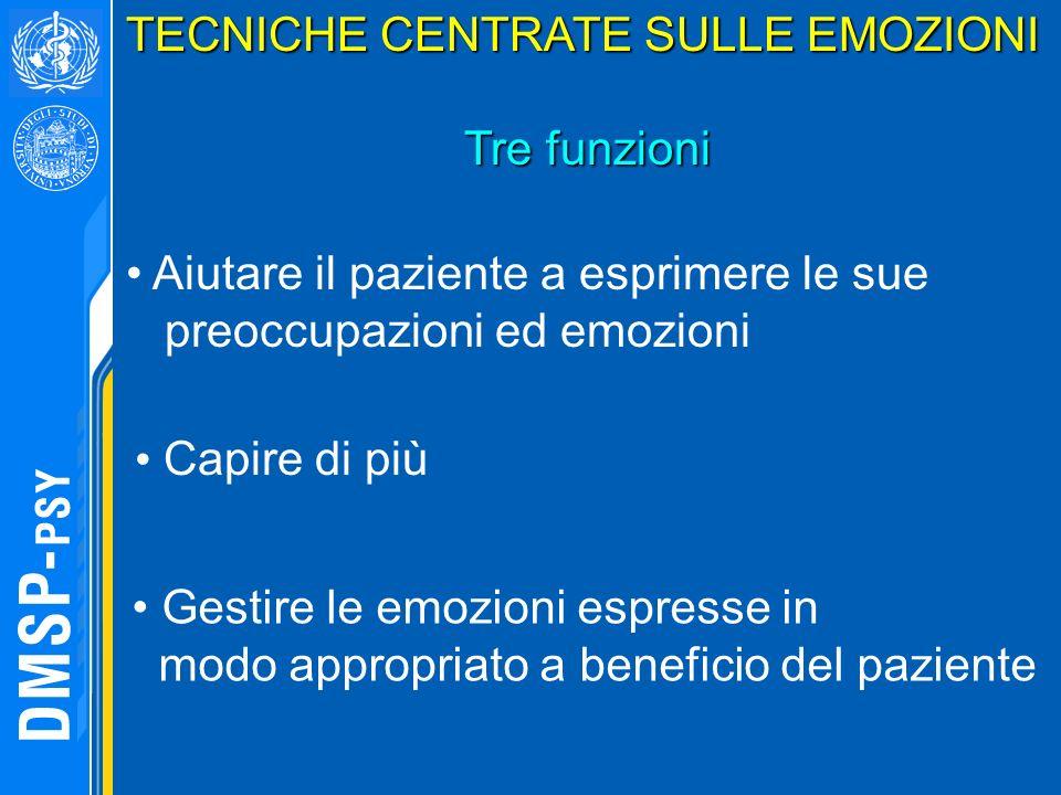 TECNICHE CENTRATE SULLE EMOZIONI Tre funzioni Gestire le emozioni espresse in modo appropriato a beneficio del paziente Capire di più Aiutare il pazie