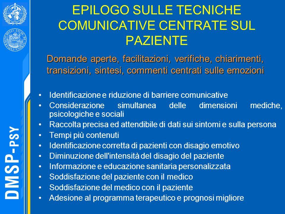 EPILOGO SULLE TECNICHE COMUNICATIVE CENTRATE SUL PAZIENTE Identificazione e riduzione di barriere comunicative Considerazione simultanea delle dimensi