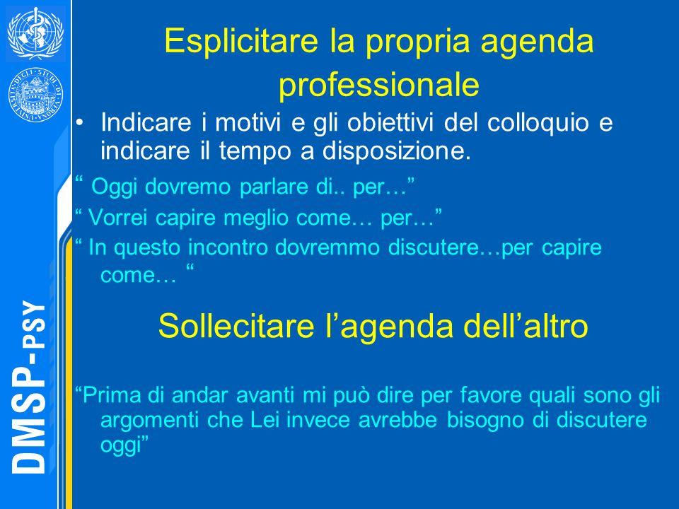 Esplicitare la propria agenda professionale Indicare i motivi e gli obiettivi del colloquio e indicare il tempo a disposizione. Oggi dovremo parlare d