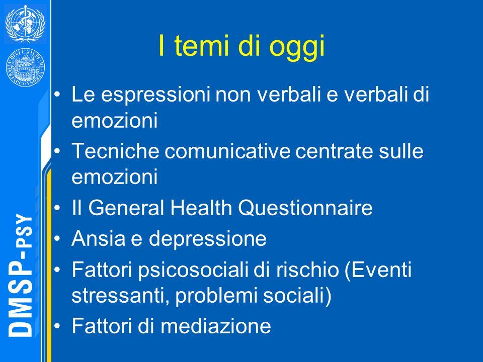 I temi di oggi Le espressioni non verbali e verbali di emozioni Tecniche comunicative centrate sulle emozioni Il General Health Questionnaire Ansia e