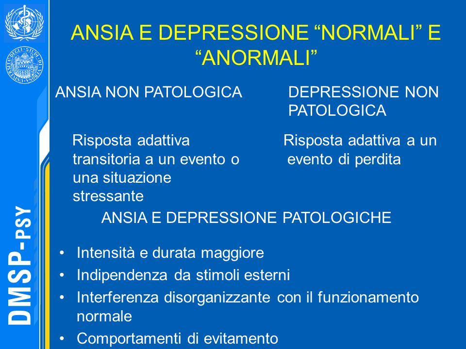 ANSIA E DEPRESSIONE NORMALI E ANORMALI Risposta adattiva transitoria a un evento o una situazione stressante ANSIA NON PATOLOGICA DEPRESSIONE NON PATO