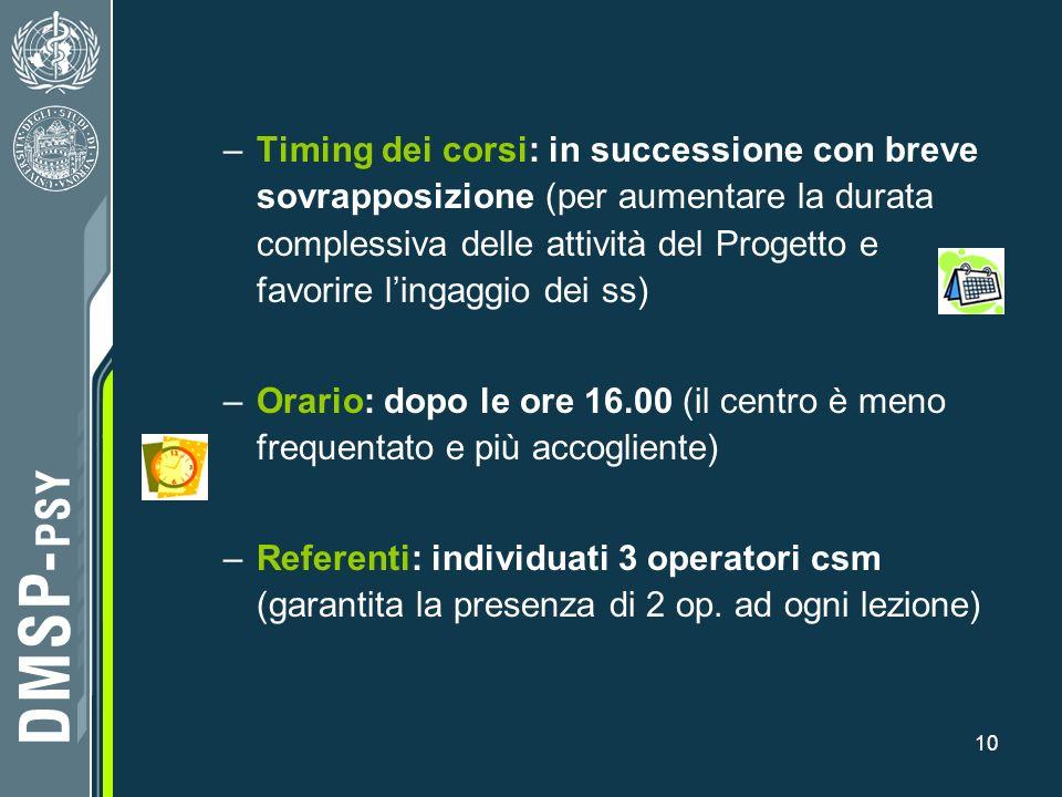 10 –Timing dei corsi: in successione con breve sovrapposizione (per aumentare la durata complessiva delle attività del Progetto e favorire lingaggio d