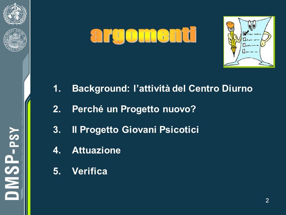 2 1.Background: lattività del Centro Diurno 2.Perché un Progetto nuovo? 3.Il Progetto Giovani Psicotici 4.Attuazione 5.Verifica