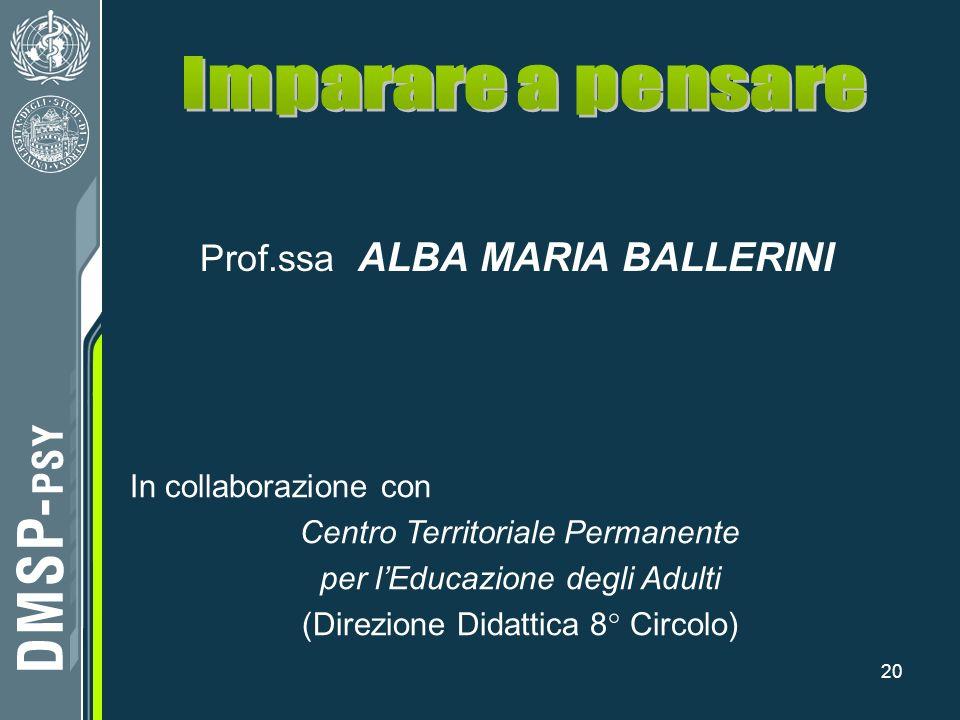 20 Prof.ssa ALBA MARIA BALLERINI In collaborazione con Centro Territoriale Permanente per lEducazione degli Adulti (Direzione Didattica 8° Circolo)