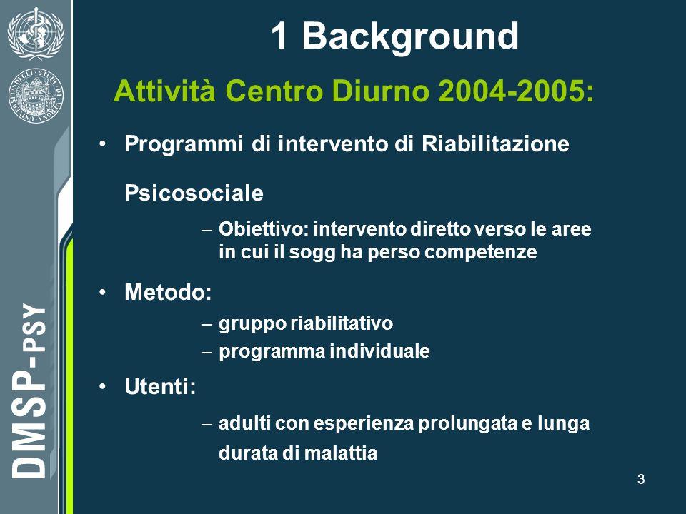 3 Attività Centro Diurno 2004-2005: Programmi di intervento di Riabilitazione Psicosociale –Obiettivo: intervento diretto verso le aree in cui il sogg