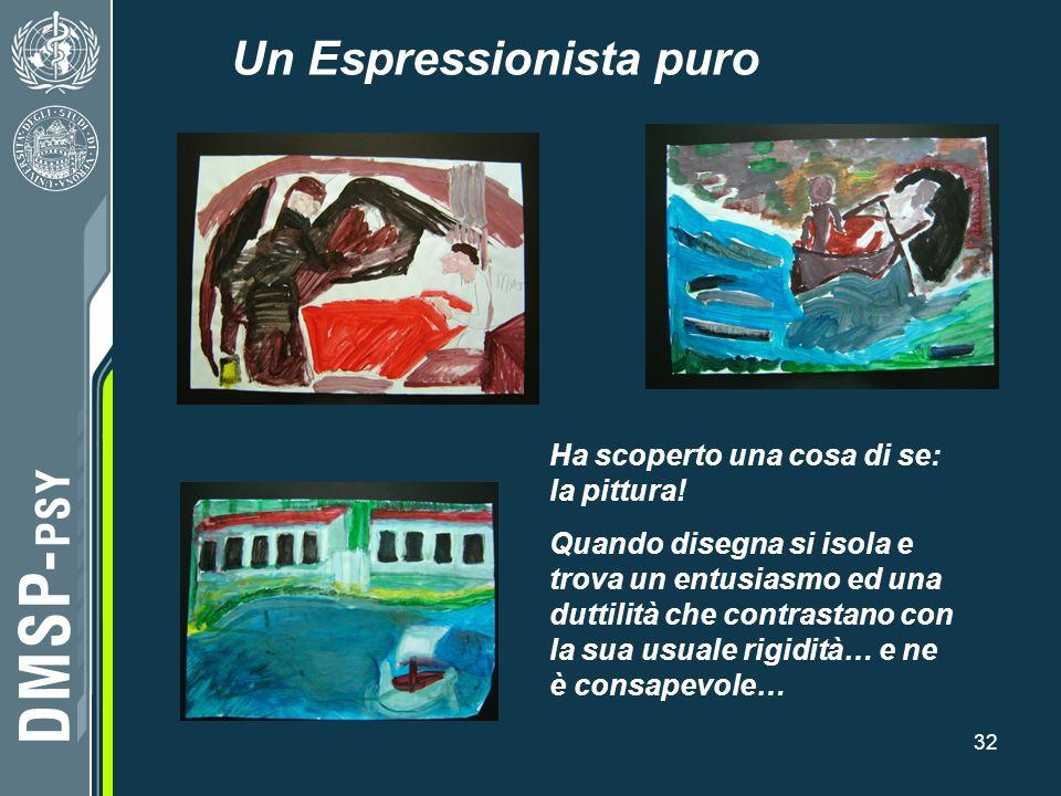 32 Un Espressionista puro Ha scoperto una cosa di se: la pittura! Quando disegna si isola e trova un entusiasmo ed una duttilità che contrastano con l