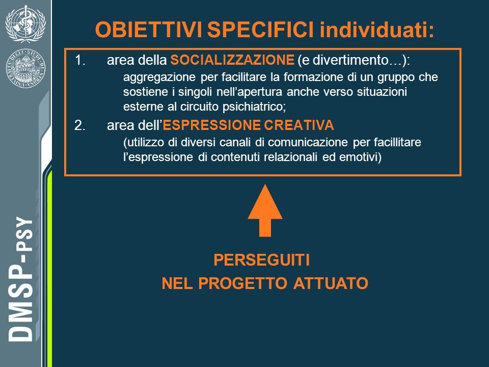 7 OBIETTIVI SPECIFICI individuati: 1.area della SOCIALIZZAZIONE (e divertimento…): aggregazione per facilitare la formazione di un gruppo che sostiene