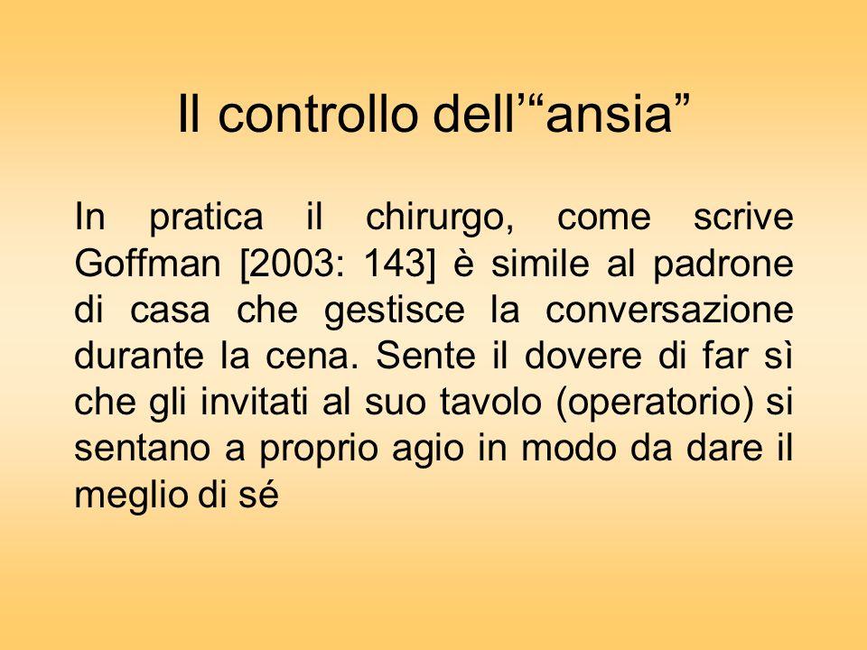 Il controllo dellansia In pratica il chirurgo, come scrive Goffman [2003: 143] è simile al padrone di casa che gestisce la conversazione durante la cena.