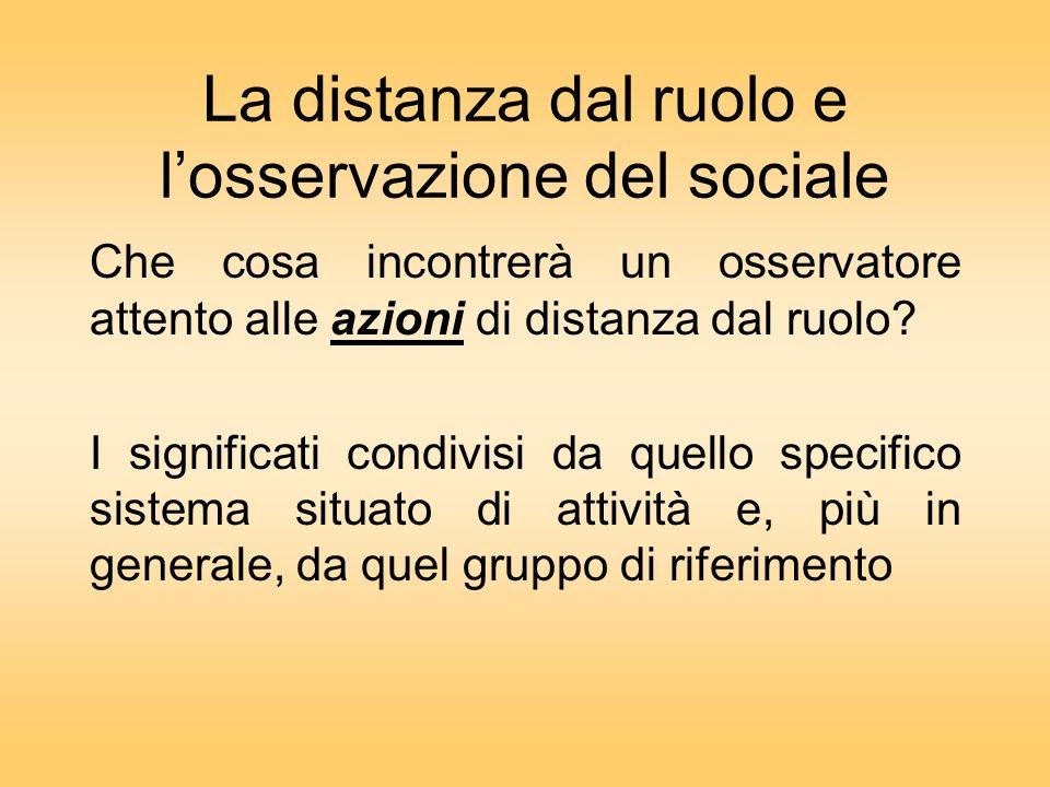 La distanza dal ruolo e losservazione del sociale Che cosa incontrerà un osservatore attento alle azioni di distanza dal ruolo.
