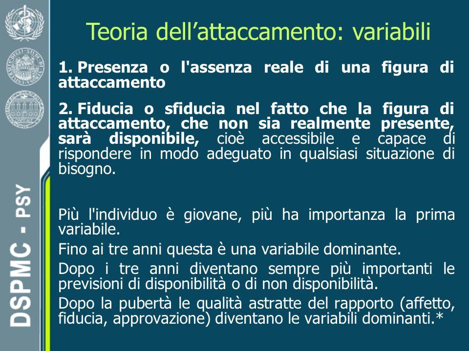 Teoria dellattaccamento: variabili 1.Presenza o l assenza reale di una figura di attaccamento 2.