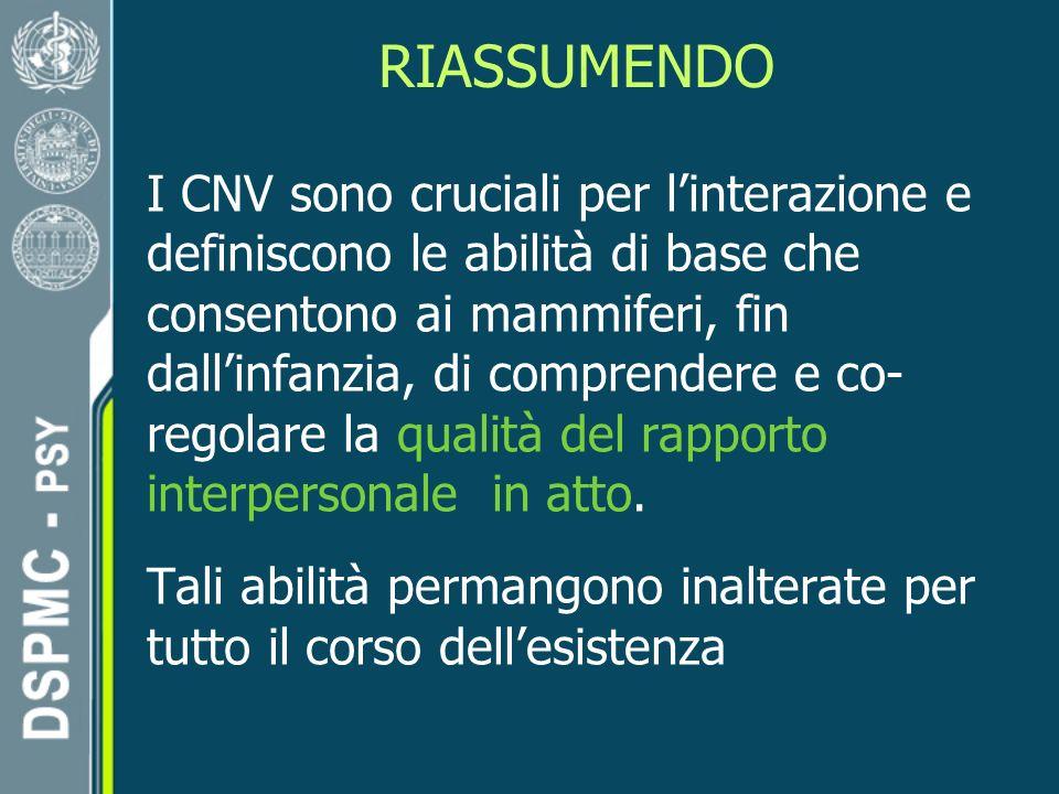 RIASSUMENDO I CNV sono cruciali per linterazione e definiscono le abilità di base che consentono ai mammiferi, fin dallinfanzia, di comprendere e co- regolare la qualità del rapporto interpersonale in atto.