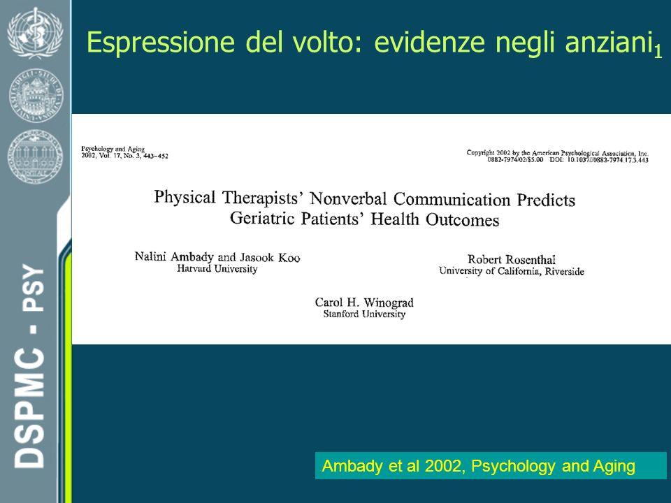 Espressione del volto: evidenze negli anziani 1 Ambady et al 2002, Psychology and Aging