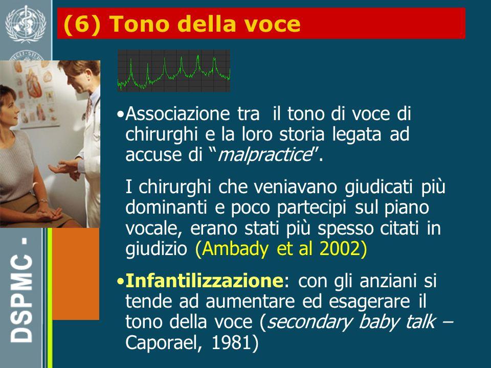 (6) Tono della voce Associazione tra il tono di voce di chirurghi e la loro storia legata ad accuse di malpractice.
