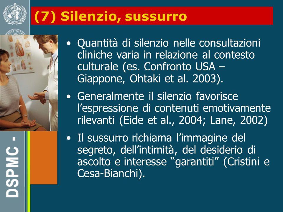 (7) Silenzio, sussurro Quantità di silenzio nelle consultazioni cliniche varia in relazione al contesto culturale (es.