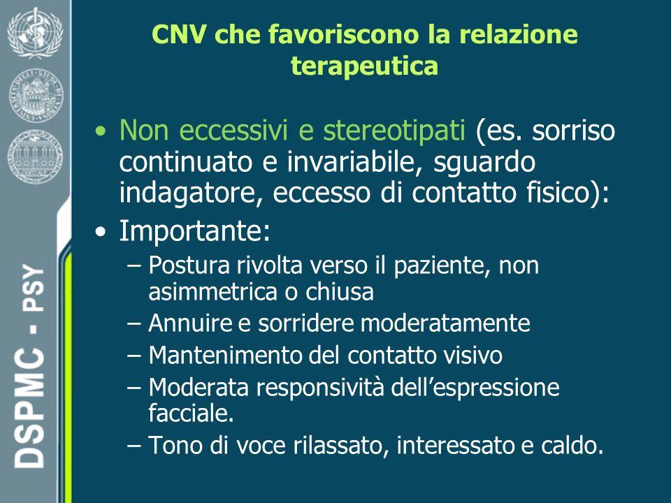 CNV che favoriscono la relazione terapeutica Non eccessivi e stereotipati (es.