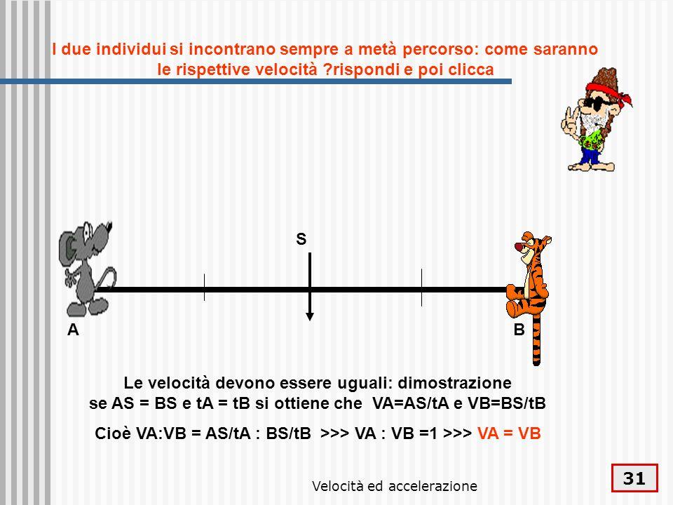 Velocità ed accelerazione 31 AB I due individui si incontrano sempre a metà percorso: come saranno le rispettive velocità ?rispondi e poi clicca Le ve