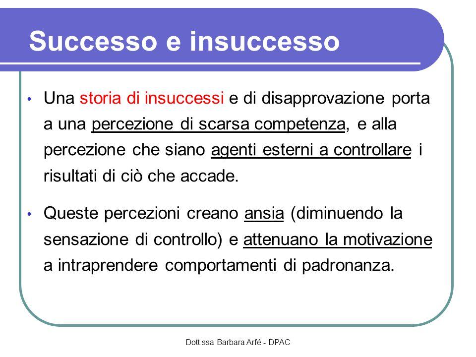 Successo e insuccesso Una storia di insuccessi e di disapprovazione porta a una percezione di scarsa competenza, e alla percezione che siano agenti esterni a controllare i risultati di ciò che accade.