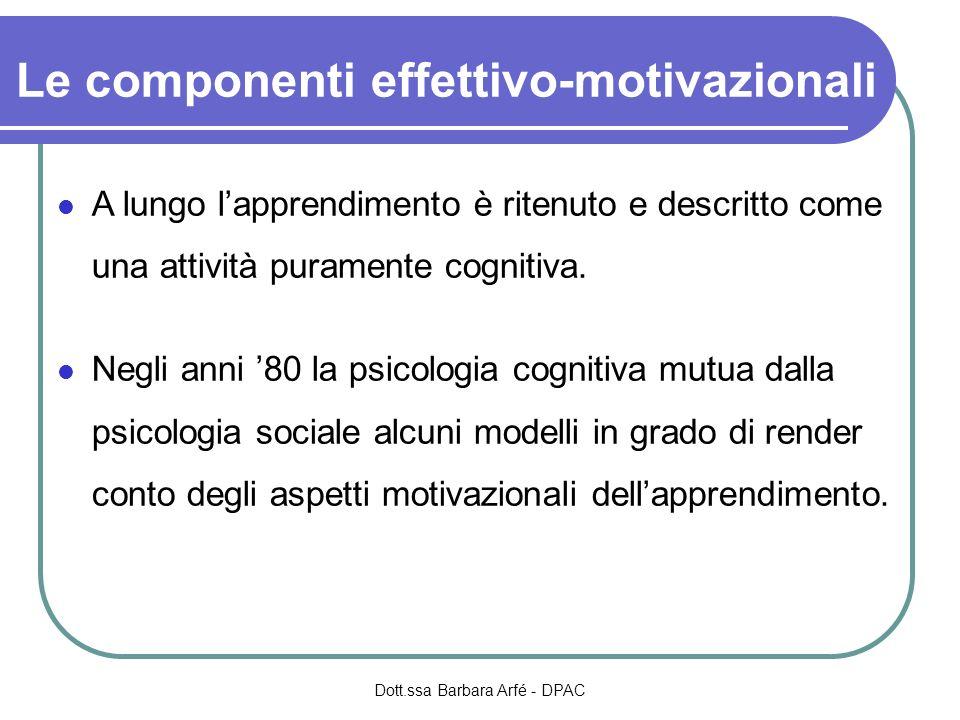 Le componenti effettivo-motivazionali A lungo lapprendimento è ritenuto e descritto come una attività puramente cognitiva.