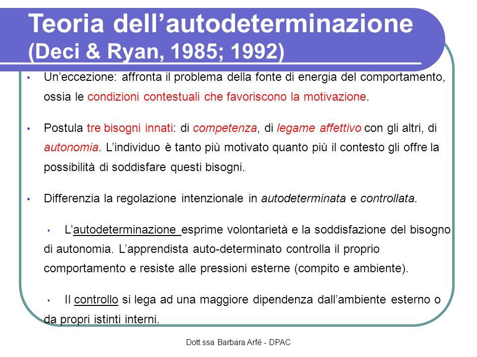 Teoria dellautodeterminazione (Deci & Ryan, 1985; 1992) Uneccezione: affronta il problema della fonte di energia del comportamento, ossia le condizioni contestuali che favoriscono la motivazione.