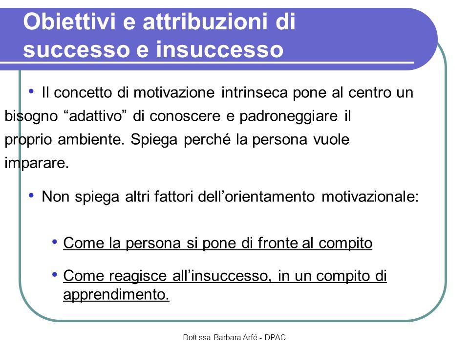 Obiettivi e attribuzioni di successo e insuccesso Il concetto di motivazione intrinseca pone al centro un bisogno adattivo di conoscere e padroneggiare il proprio ambiente.