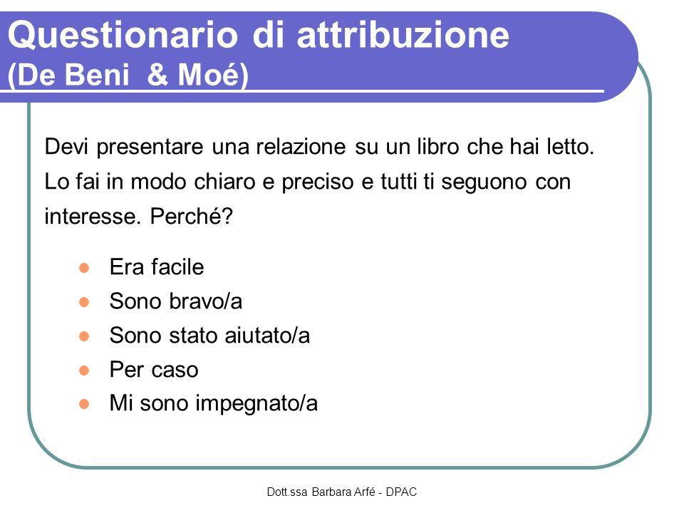 Questionario di attribuzione (De Beni & Moé) Devi presentare una relazione su un libro che hai letto.